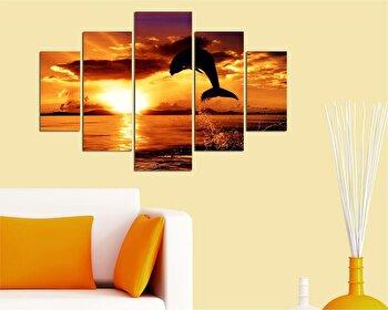 Tablou decorativ multicanvas Destiny, 5 Piese, Peisaj, 247DST1910, Multicolor de la Destiny