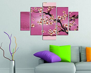 Tablou decorativ multicanvas Destiny, 5 Piese, Peisaj, 247DST1911, Multicolor de la Destiny