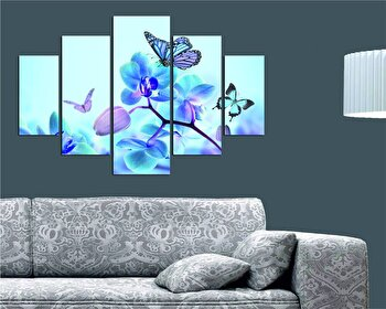 Tablou decorativ multicanvas Destiny, 5 Piese, Flori, 247DST1919, Multicolor de la Destiny