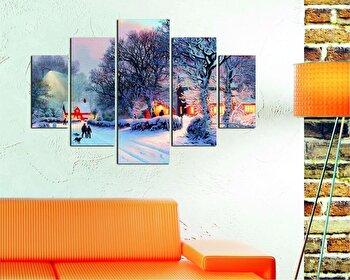 Tablou decorativ multicanvas Destiny, 5 Piese, Peisaj de iarna, 247DST1946, Multicolor de la Destiny