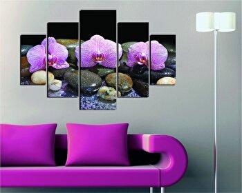Tablou decorativ multicanvas Destiny, 5 Piese, Flori, 247DST1972, Multicolor de la Destiny