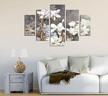 Tablou decorativ multicanvas Destiny, 5 Piese, Flori, 247DST2956, Multicolor de la Destiny