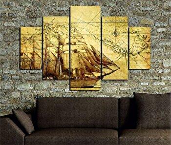 Tablou decorativ multicanvas Miracle, 5 Piese, Piratii din Caraibe, 236MIR1900, Multicolor de la Miracle