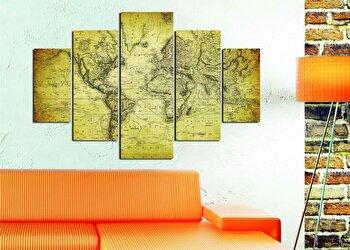 Tablou decorativ multicanvas Miracle, 5 Piese, Harta lumii, 236MIR1901, Multicolor de la Miracle