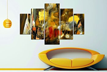 Tablou decorativ multicanvas Miracle, 5 Piese, Abstract, 236MIR1939, Multicolor de la Miracle