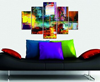 Tablou decorativ multicanvas Miracle, 5 Piese, Abstract, 236MIR1949, Multicolor de la Miracle