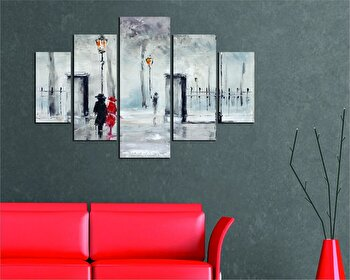 Tablou decorativ multicanvas Miracle, 5 Piese, Abstract, 236MIR2912, Multicolor de la Miracle