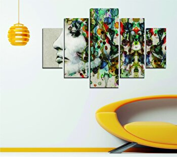 Tablou decorativ multicanvas Miracle, 5 Piese, Abstract, 236MIR2915, Multicolor de la Miracle