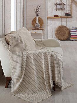 Patura canapea Eponj Home, 336EPJ0419, 180 x 230 cm, bumbac organic, 336EPJ0419, 180 x 230 cm, Bej de la Eponj Home
