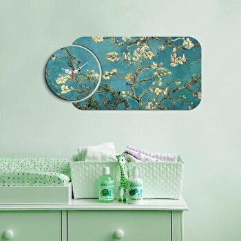 Ceas decorativ de perete din lemn Home Art, 2 Piese, 238HMA5100, Multicolor