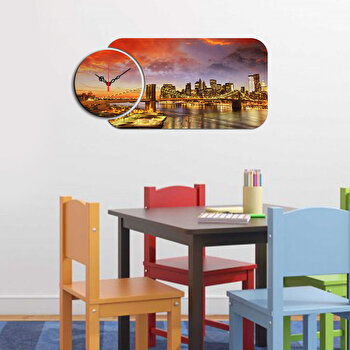 Ceas decorativ de perete Home Art, 2 Piese, 238HMA5143, Multicolor