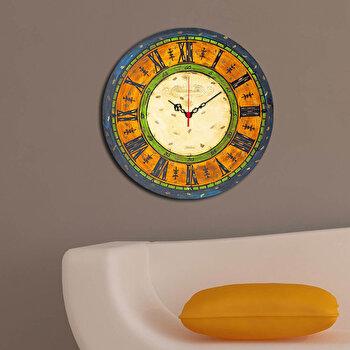 Ceas decorativ de perete din lemn Home Art, 238HMA3100, 40 cm, Multicolor de la Home Art