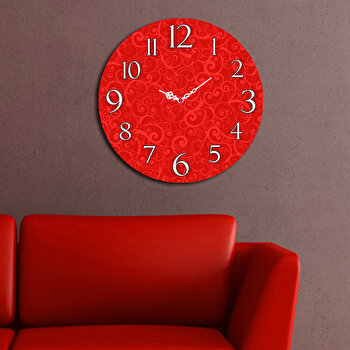 Ceas decorativ de perete din lemn Home Art, 238HMA3101, 40 cm, Rosu
