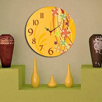 Ceas decorativ de perete din lemn Home Art, 238HMA3102, 40 cm, Galben de la Home Art