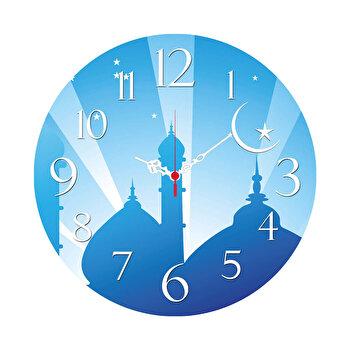 Ceas decorativ de perete din lemn Home Art, 238HMA3106, 40 cm, Albastru