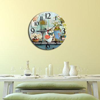 Ceas decorativ de perete Home Art, 238HMA3114, 40 cm, Albastru de la Home Art