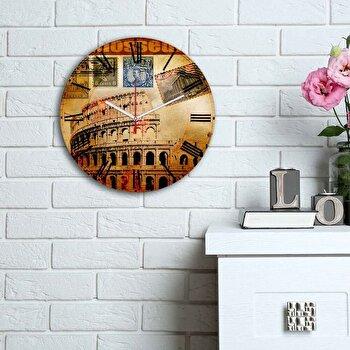 Ceas decorativ de perete din lemn Home Art, 238HMA6100, 30 cm, Multicolor de la Home Art