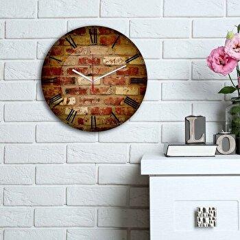 Ceas decorativ de perete din lemn Home Art, 238HMA6112, 30 cm, Multicolor de la Home Art