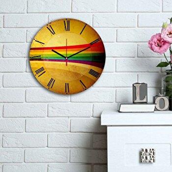 Ceas decorativ de perete din lemn Home Art, 238HMA6114, 30 cm, Multicolor de la Home Art
