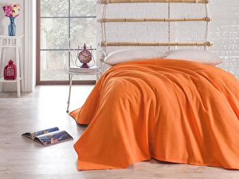 Cuvertura pentru pat single Bella Carine by Esil Home, 158ESH5115, 160 x 240 cm, Portocaliu de la Esil Home