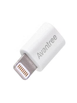 Adaptor Avantree, CGAD-IF5-05-WHT, microUSB la Lightning, alb de la Avantree