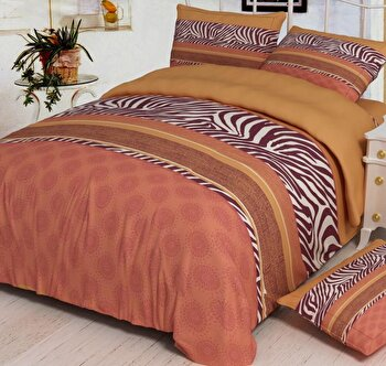 Lenjerie de pat dubla Heinner VN-4BEDYX60-BROWN, 4 piese, din microfibra, portocaliu de la Heinner