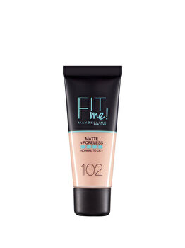 Fond de ten matifiant Maybelline New York Fit Me Matte & Poreles, 102 Fair Ivory, 30 ml de la Maybelline