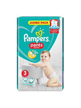 Scutece-chilotei Pampers Active Baby Midi 3 Jumbo Pack, 6-11 kg, 60 buc de la Pampers