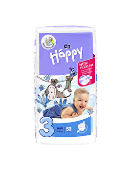 Scutece Happy Midi, 5-9 kg, 52 buc de la Happy