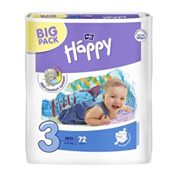 Scutece Happy Midi, 5-9 kg, 72 buc de la Happy