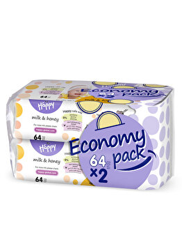 Happy Milk & Honey Servetele umede duo pack 64 x 2 de la Happy