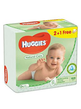 Set servetele umede Huggies Natural Care cu aloe Triplo 2+1, 56 buc x 3 de la Huggies