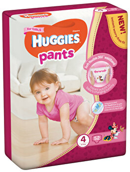 Scutece-chilotel Huggies Mega girl 4, 9-14kg, 52 buc de la Huggies
