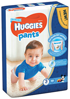 Scutece-chilotel Huggies Mega boy 3, 6-11kg, 58 buc de la Huggies