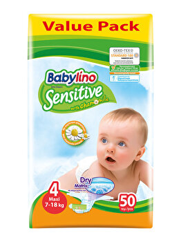 Scutece Babylino Economy 4 Maxi, 7-18 kg, 50 buc.