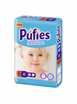 Scutece Pufies Sensitive 6 Extra Large, Maxi Pack, 42 buc de la Pufies