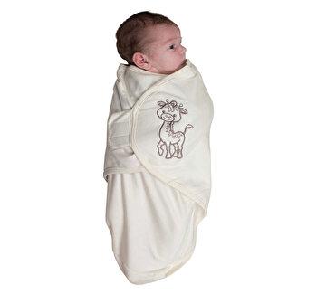 Body special tip Wrap Bo Jungle Girafa pentru bebelusi marime S (3-6kg) din bumbac organic de la Bo Jungle