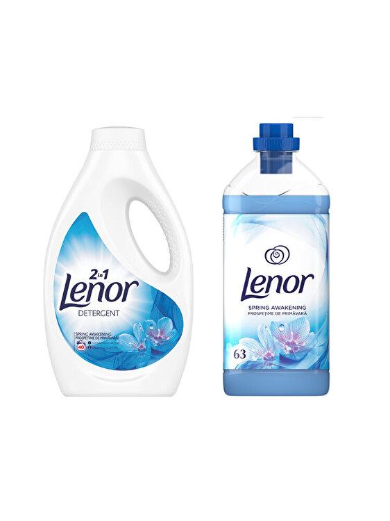 Pachet curatenie: Detergent automat lichid Lenor Spring Awakening 40 spalari + Balsam rufe Lenor Spring Awakening 63 spalari