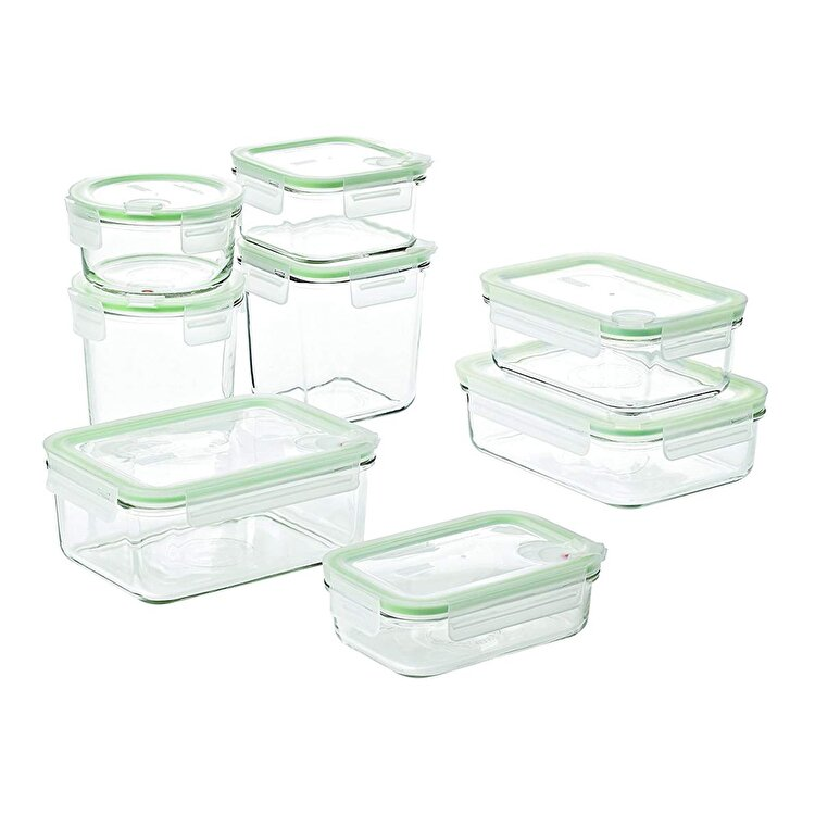 Set 8 caserole, Glasslock, 2000 ml, GL1729, sticla, Verde de la Glasslock