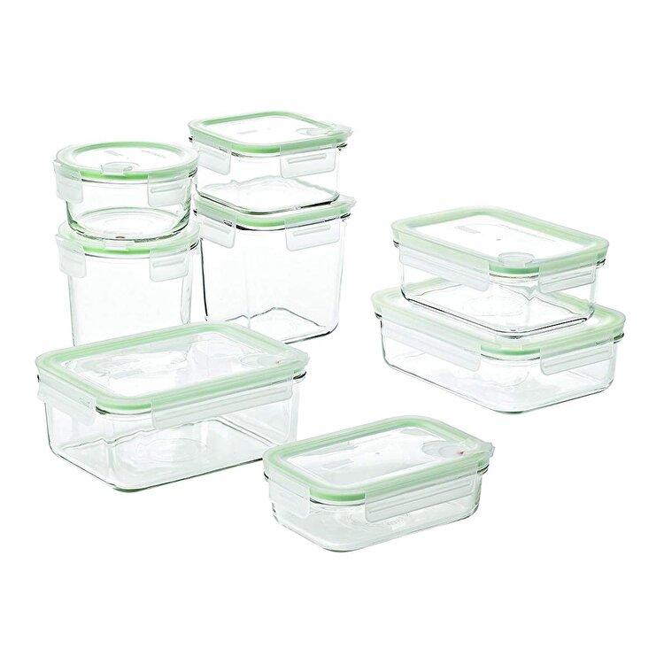 Set 8 caserole, Glasslock, 2000 ml, GL1729, sticla, Verde