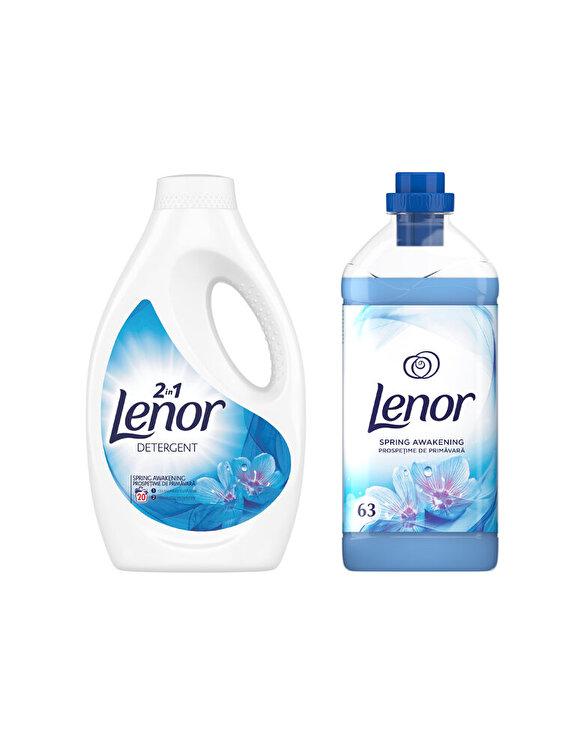 Pachet Curatenie: Detergent automat lichid Lenor Spring Awakening 20 spalari + Balsam rufe Lenor Spring Awakening 63 spalari de la LENOR