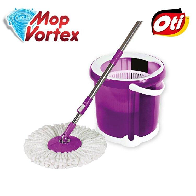 Set compact de curatenie, OTI, galeata cu centrifuga si Mop Vortex, OTI, 1 rezerva, 9 L, 141181, Mov de la Oti
