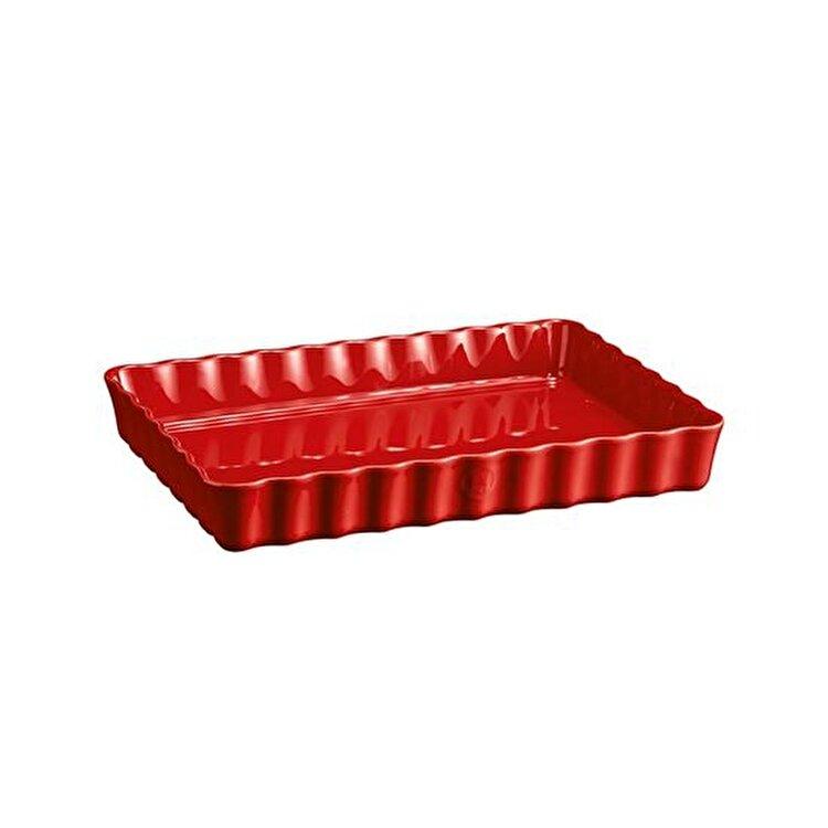 Tava ceramica pentru tarte, Burgundy, Emile Henry, 34 x 24 cm, 603834, ceramica, Rosu