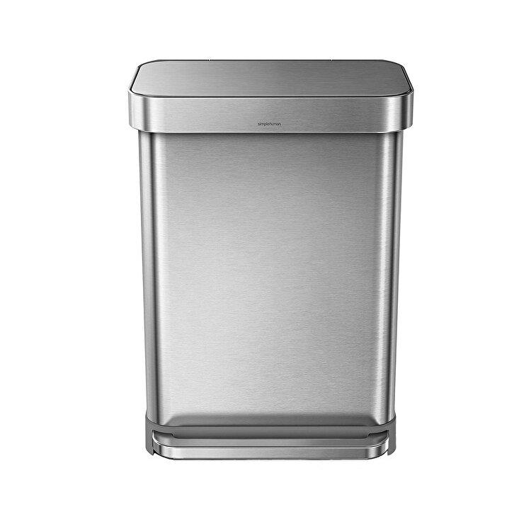 Cos de gunoi cu pedala, SimpleHuman, 55 L, CW2023, inox, Argintiu