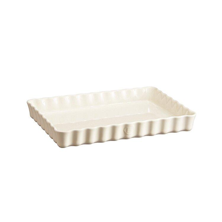Tava ceramica pentru tarte, Clay, Emile Henry, 33.5 x 24 cm, 603802, ceramica, Alb de la Emile Henry