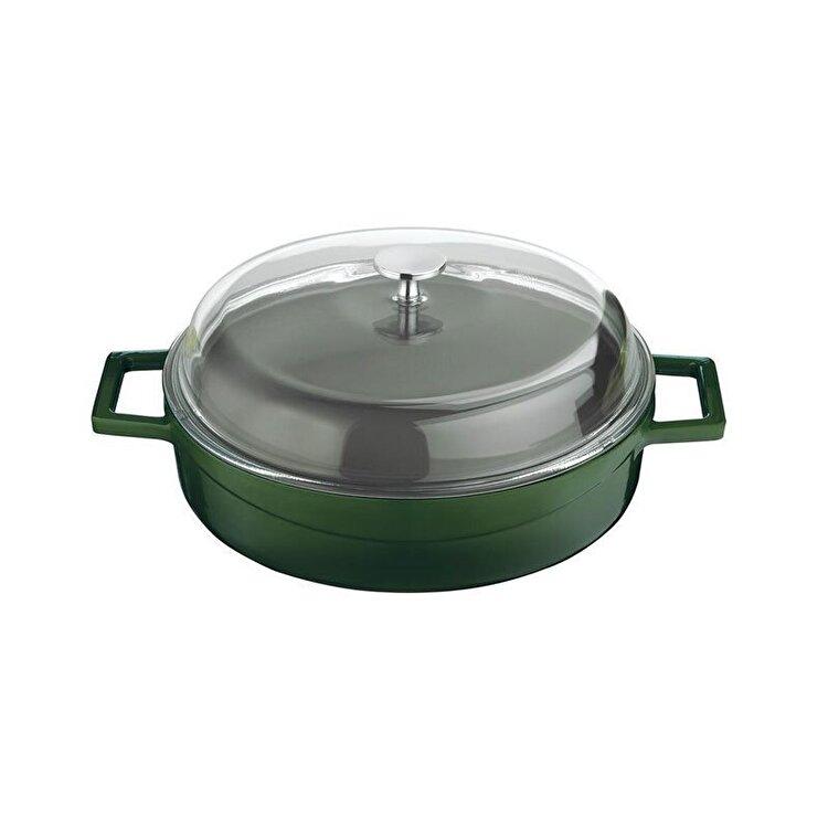 "Cratita ""Glaze"", Lava, 24 cm, LVYST24K3G, fonta, Verde de la Lava"