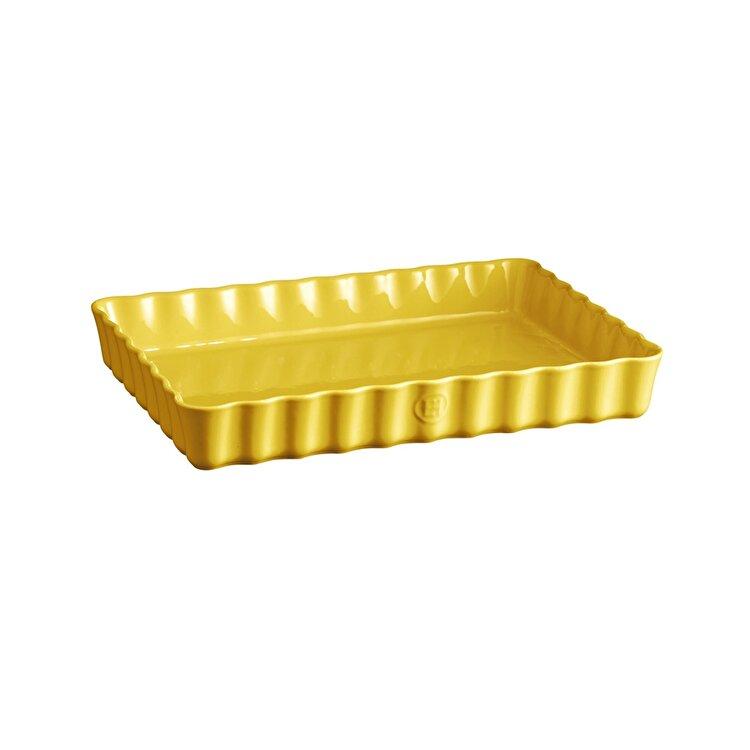 Tava ceramica pentru tarte, Provence yellow, Emile Henry, 33.5 x 24 cm, 603890, ceramica, Galben de la Emile Henry