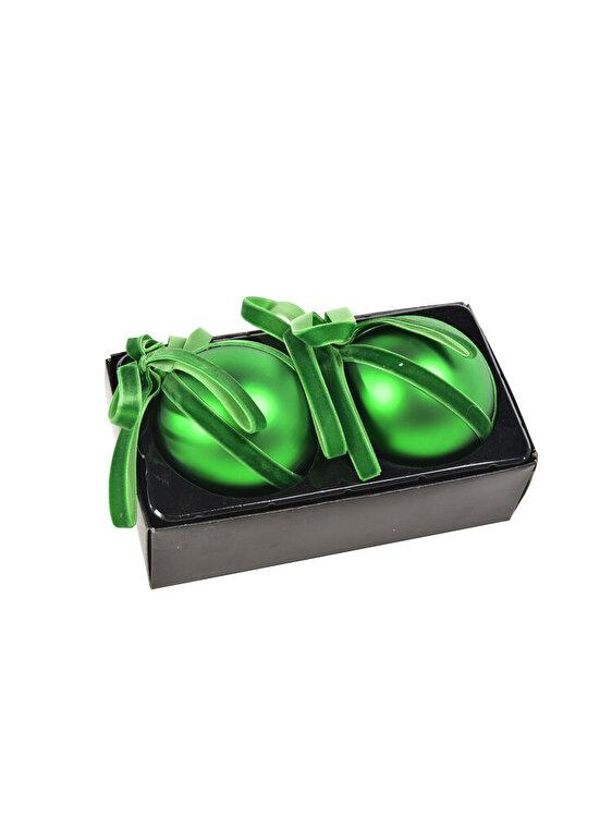 Set 2 globuri Mercury, cu panglica, 8 cm, 58881, sticla, Verde de la Mercury