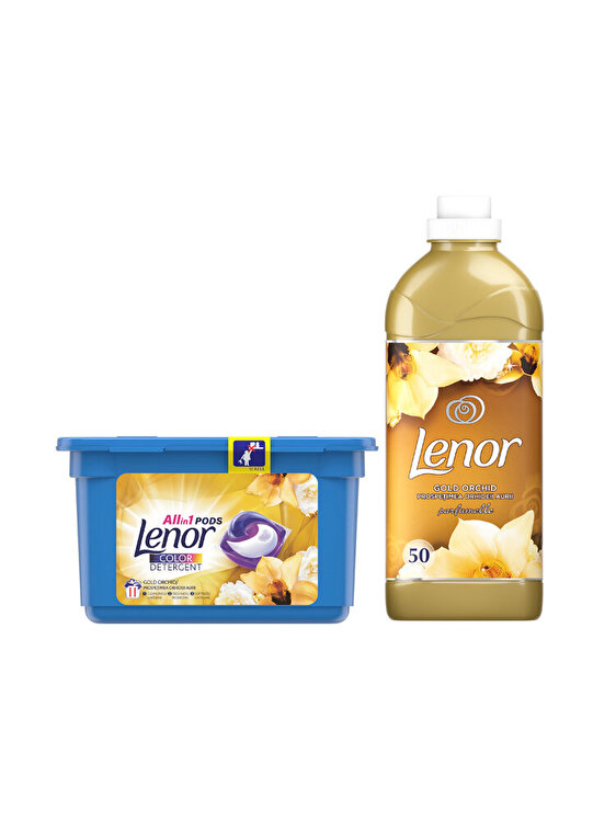 Pachet Curatenie: Detergent capsule Lenor All in One PODs  Gold Orchid 11 spalari + Balsam rufe Lenor Gold Orchid 50 spalari de la LENOR