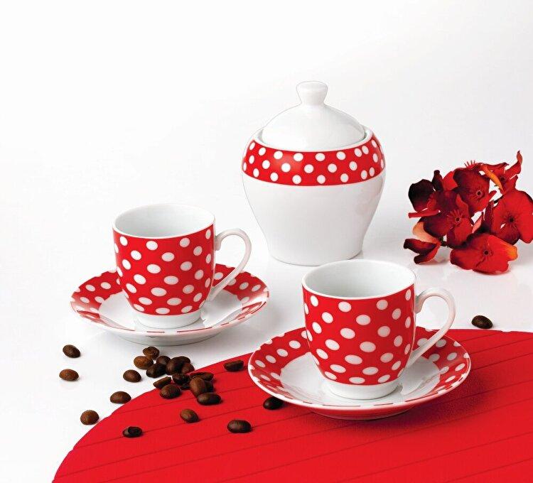 """Set cafea, OTI, 6 piese cafea Special, model """"Rosu cu buline"""", 191245, portelan, Rosu de la Oti"""